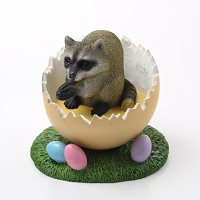 Raccoon Easter Egg Figurine