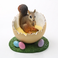 Squirrel Red Easter Egg Figurine