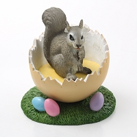 Squirrel Gray Easter Egg Figurine