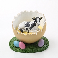Holstein Bull Easter Egg Figurine