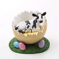 Holstein Cow Easter Egg Figurine