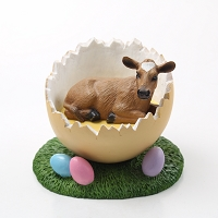 Guernsey Cow Easter Egg Figurine