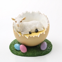 Goat White Easter Egg Figurine