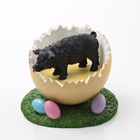 Pig Black Easter Egg Figurine