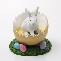 Rabbit White Easter Egg Figurine