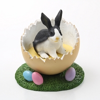 Rabbit Black & White Easter Egg Figurine