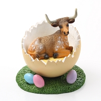 Long Horn Steer Easter Egg Figurine