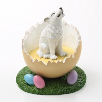 Wolf White Easter Egg Figurine