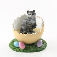Silver Shorthaired Tabby Cat Easter Egg Figurine