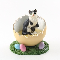 Black & White Shorthaired Tabby Cat Easter Egg Figurine