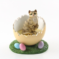 Brown Shorthaired Tabby Cat Easter Egg Figurine