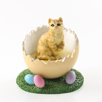 Red Shorthaired Tabby Cat Easter Egg Figurine