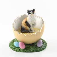 Calico Shorthaired Easter Egg Figurine