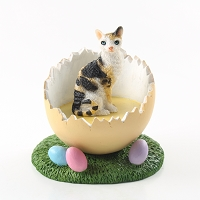 Tortoise & White Cornish Rex Easter Egg Figurine