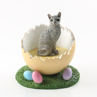Blue Cornish Rex Easter Egg Figurine