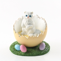 White Persian Easter Egg Figurine