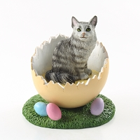 Silver Tabby Maine Coon Cat Easter Egg Figurine