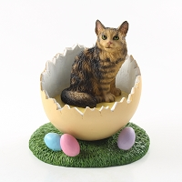 Brown Maine Coon Cat Easter Egg Figurine