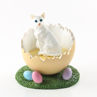White Oriental Shorthaired Easter Egg Figurine