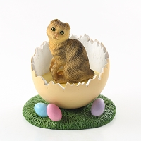 Brown Tabby Scottish Fold Easter Egg Figurine