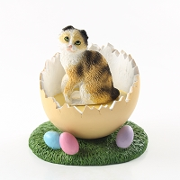 Tortoise & White Scottish Fold Easter Egg Figurine