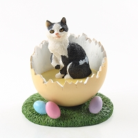 Black & White Manx Easter Egg Figurine