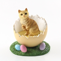 Red Tabby Manx Easter Egg Figurine