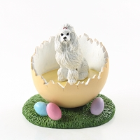 Poodle White Easter Egg Figurine