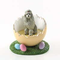Poodle Gray Easter Egg Figurine