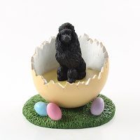 Poodle Black Easter Egg Figurine