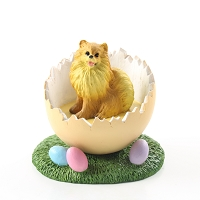 Pomeranian Red Easter Egg Figurine