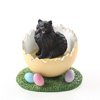 Pomeranian Black Easter Egg Figurine