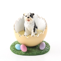 Bulldog Brindle Easter Egg Figurine
