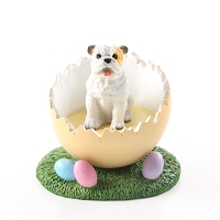 Bulldog White Easter Egg Figurine