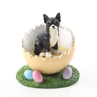 Chihuahua Black & White Easter Egg Figurine