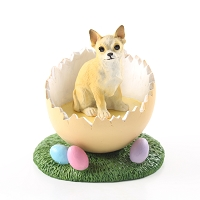 Chihuahua Tan & White Easter Egg Figurine