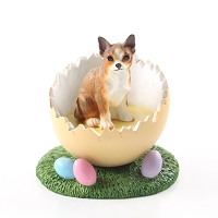 Chihuahua Brindle & White Easter Egg Figurine