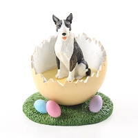 Bull Terrier Brindle Easter Egg Figurine