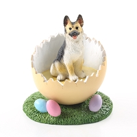 German Shepherd Tan & Black Easter Egg Figurine