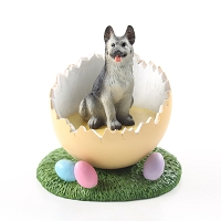 German Shepherd Black & Silver Easter Egg Figurine