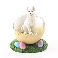German Shepherd White Easter Egg Figurine