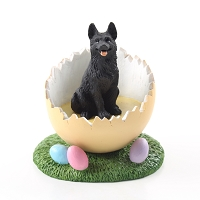German Shepherd Black Easter Egg Figurine