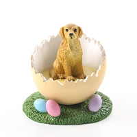 Golden Retriever Easter Egg Figurine