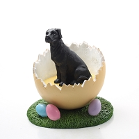Great Dane Black w/Uncropped Ears Easter Egg Figurine