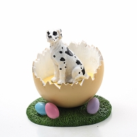 Great Dane Harlequin w/Uncropped Ears Easter Egg Figurine