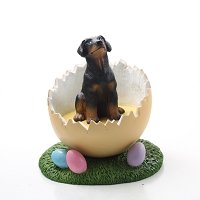 Doberman Pinscher Black w/Uncropped Ears Easter Egg Figurine