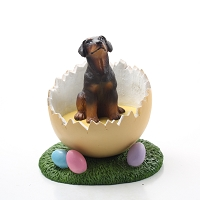 Doberman Pinscher Red w/Uncropped Ears Easter Egg Figurine