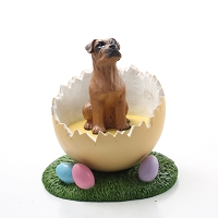 Boxer Tawny w/Uncropped Ears Easter Egg Figurine