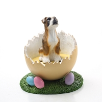 Boxer Brindle w/Uncropped Ears Easter Egg Figurine