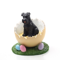 Schnauzer Black w/Uncropped Ears Easter Egg Figurine